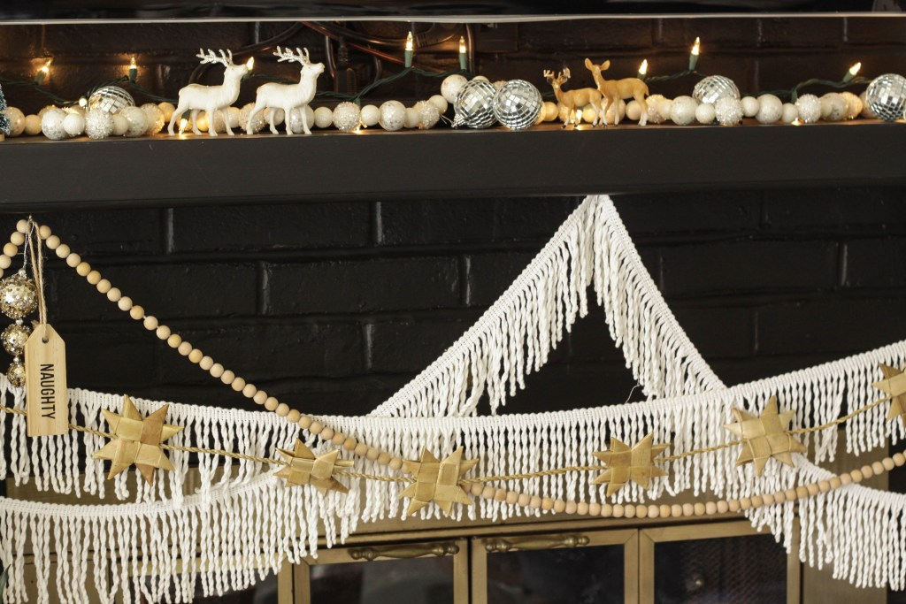 Eclectic Black and white Christmas mantle