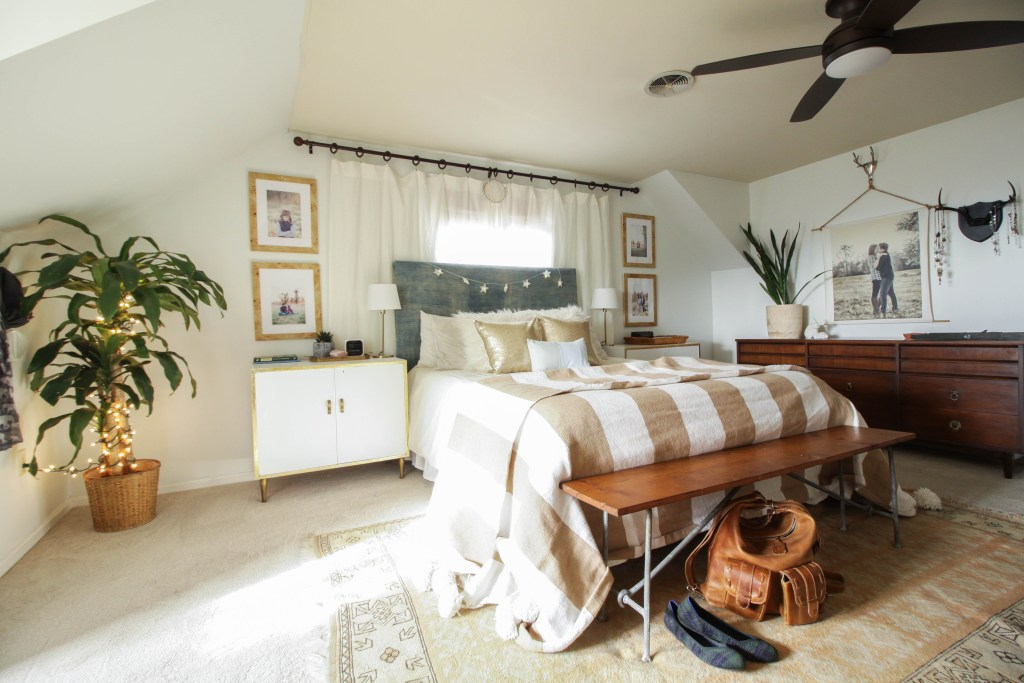 Eclectic Bohemian Style Bedroom at Christmas