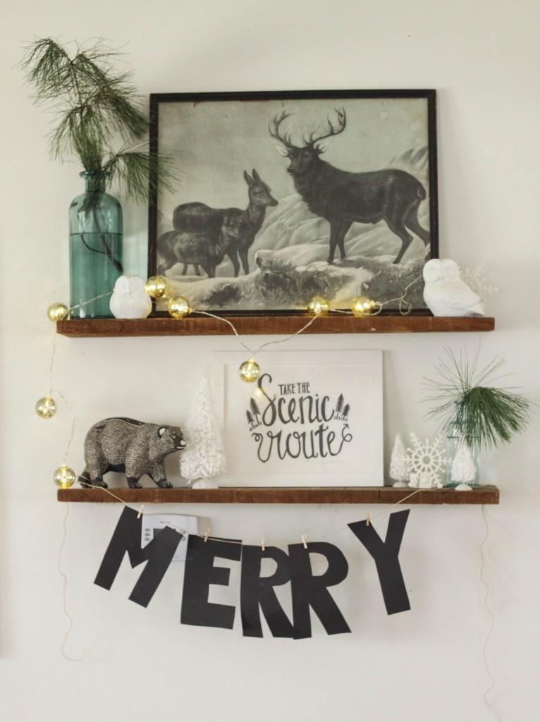 Christmas vintage rustic shelfie