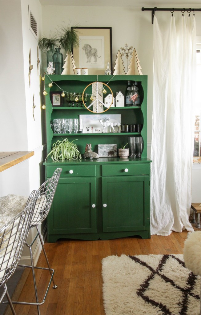 Green Dining Hutch Styled for Christmas