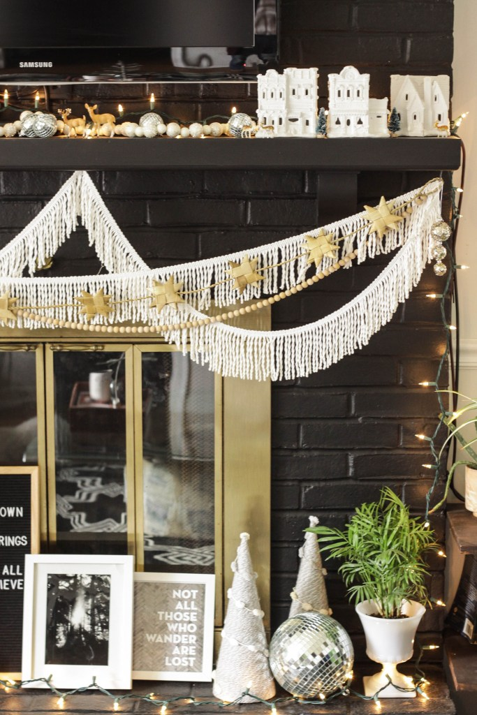 Black and white christmas hearth