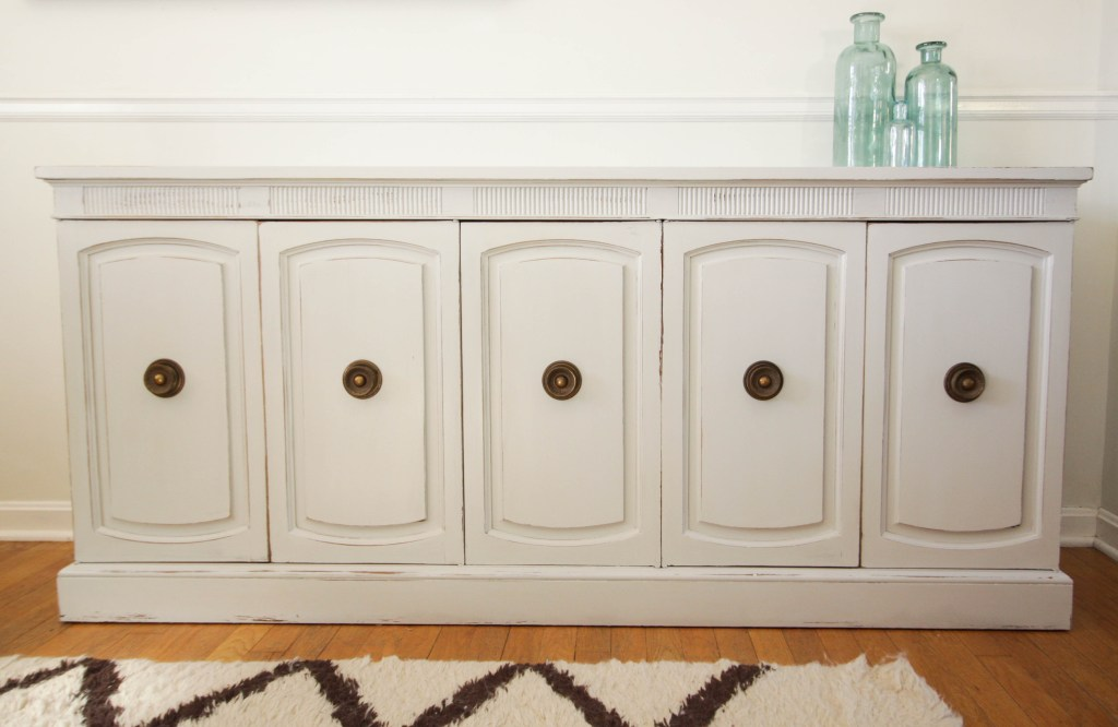 gray Neoclassical Dresser Credenza DIY Makeover