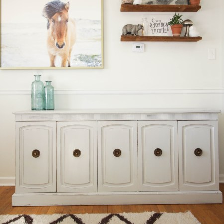 Furniture Makeover: Gray Neoclassical Sideboard