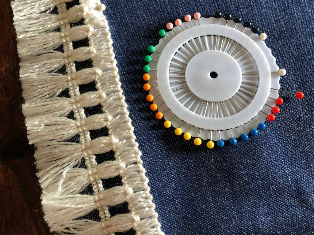 pinning fringe to fabric