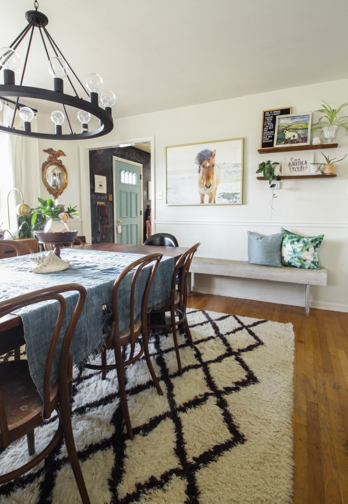 Bench & Pillows against wall in dining room- modern farmhouse style