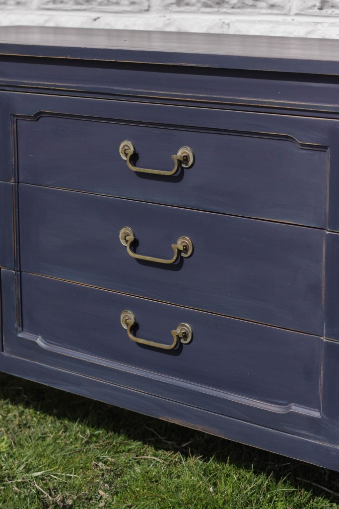 Brass hardware with navy paint