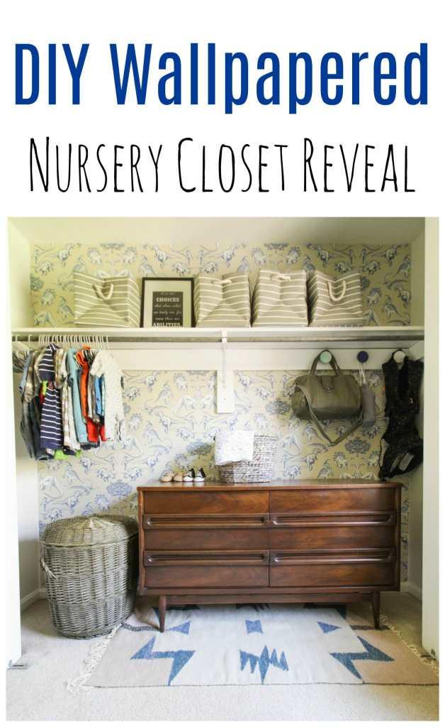 DIY Wallpapered Nursery Closet
