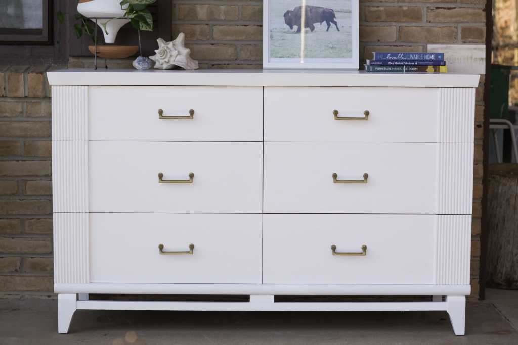 White Midcentury Dresser with Gold Hardware