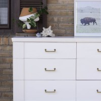Furniture Makeover: White & Gold Midcentury Dresser