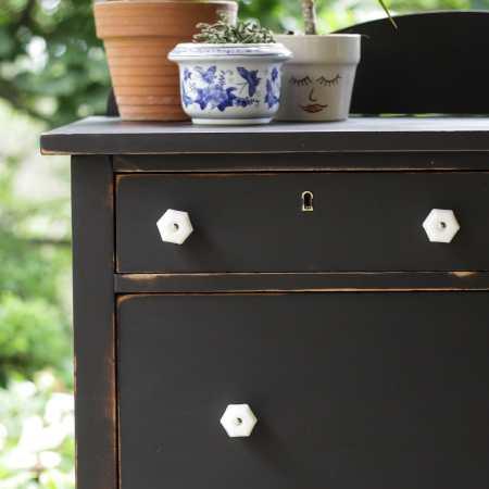 Furniture Makeover: Black Vintage Dresser with Milk Glass Knobs