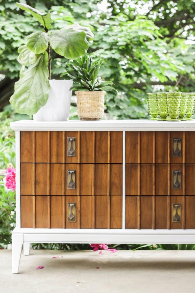Wood and white midcentury mcm dresser furniture flip