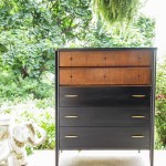 Furniture Makeover: Black, Wood & Gold Midcentury Chest