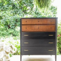 Furniture Makeover: Black, Wood & Gold Midcentury Chest