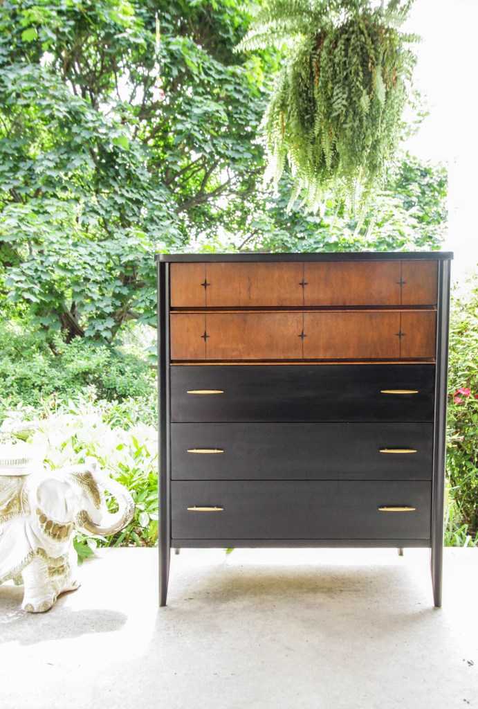 Black wood and gold midcentury chest makeover