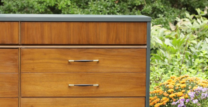 Furniture Makeover: Teal & Wood Midcentury Double Dresser (Yes, you can paint laminate!)