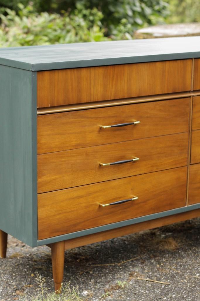 teal & wood mcm dresser makeover- painting laminate