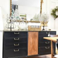 Furniture Makeover: Black & Wood Midcentury Sideboard (And a