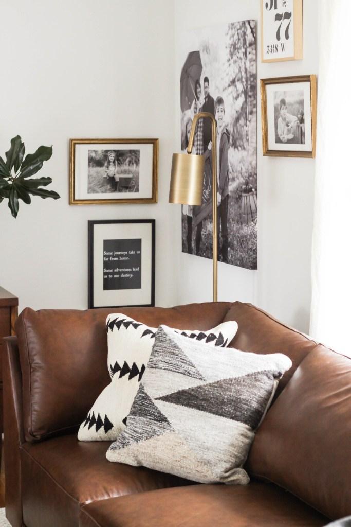 Gold Black and white neutral modern living room