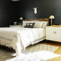 Moody Modern Boho Master Bedroom Progress: Black Walls