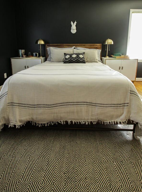 Modern Boho Bedroom, Black, White, wood