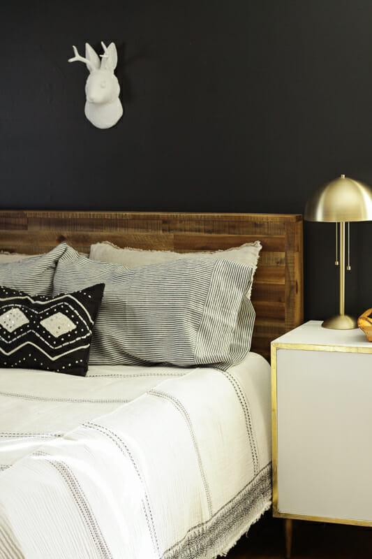 Black and white stripe linen pillow