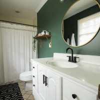 Dark Green Modern bathroom Budget Makeover