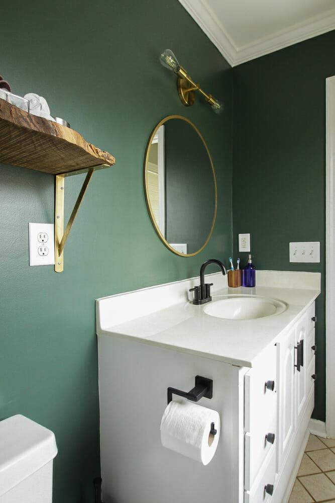 Dark Green Modern Budget Bath Redo
