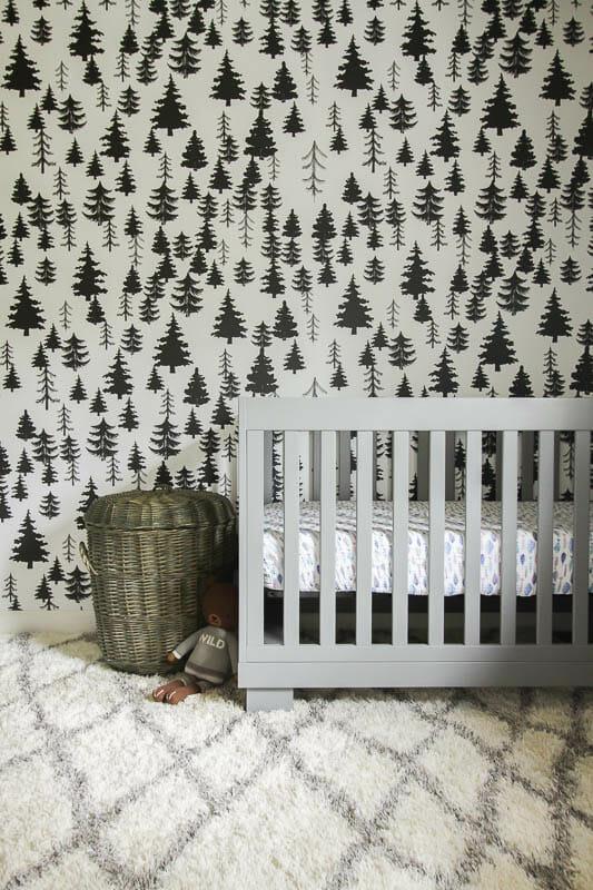 Gender Neutral Nursery with wallpaper