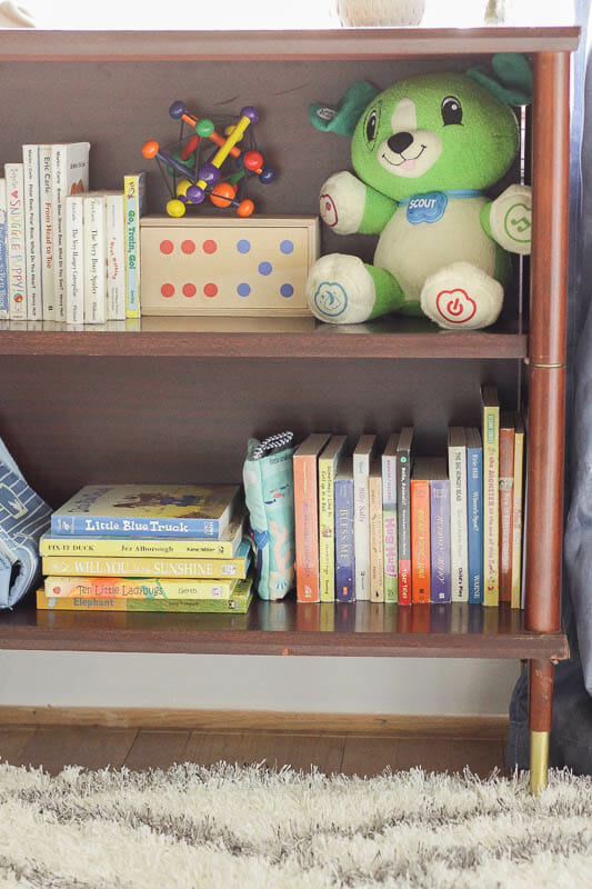 Colorful board books and baby toys- toy storage