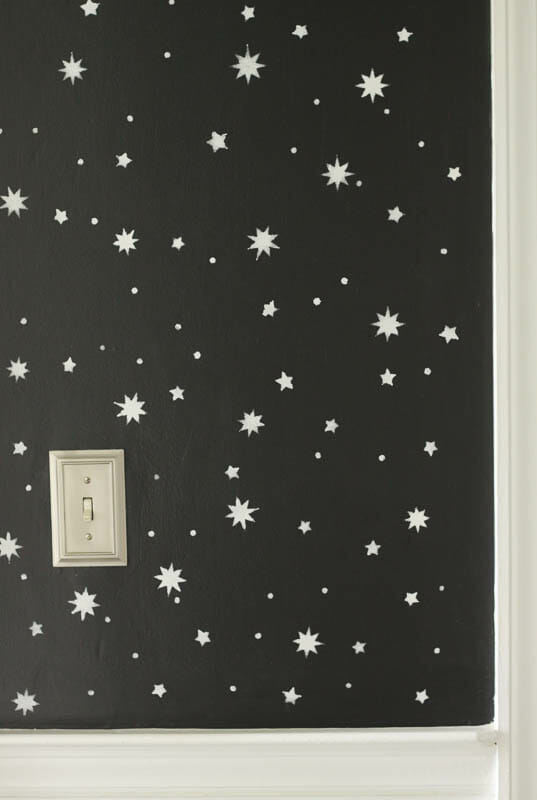 DIY Starry Stenciled wall