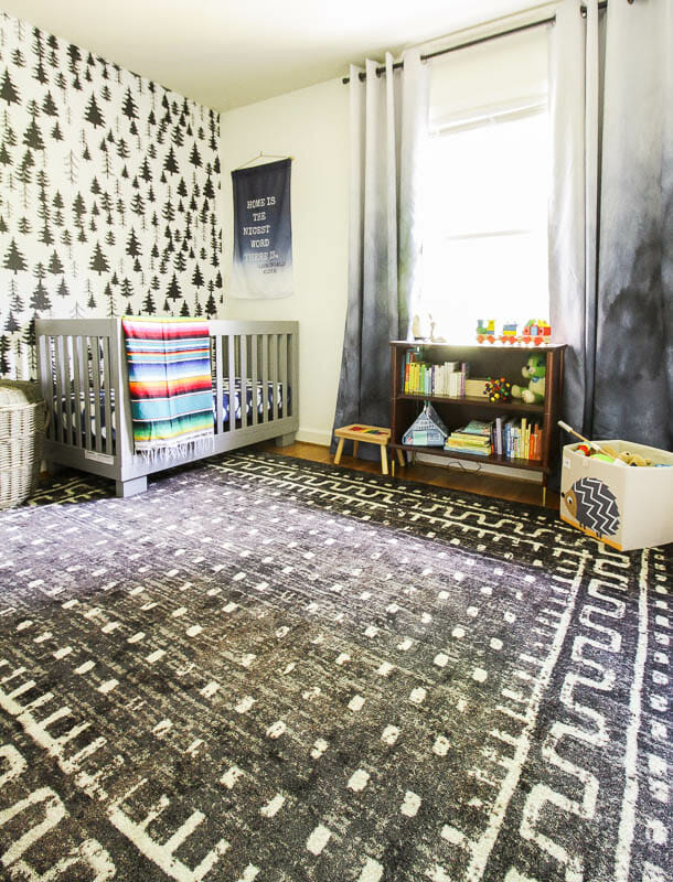 Gender Neutral Nursery in black and white with bright rainbow accents