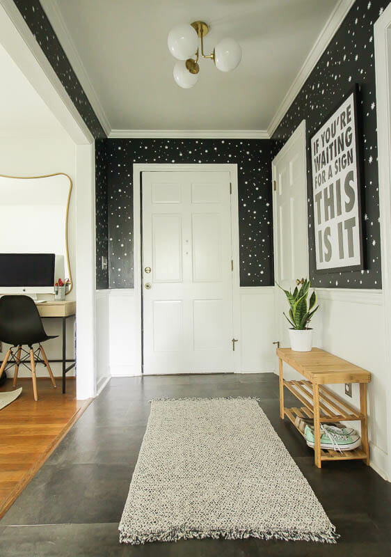 Affordable midcentury lighting from my mitzi in small entry makeover