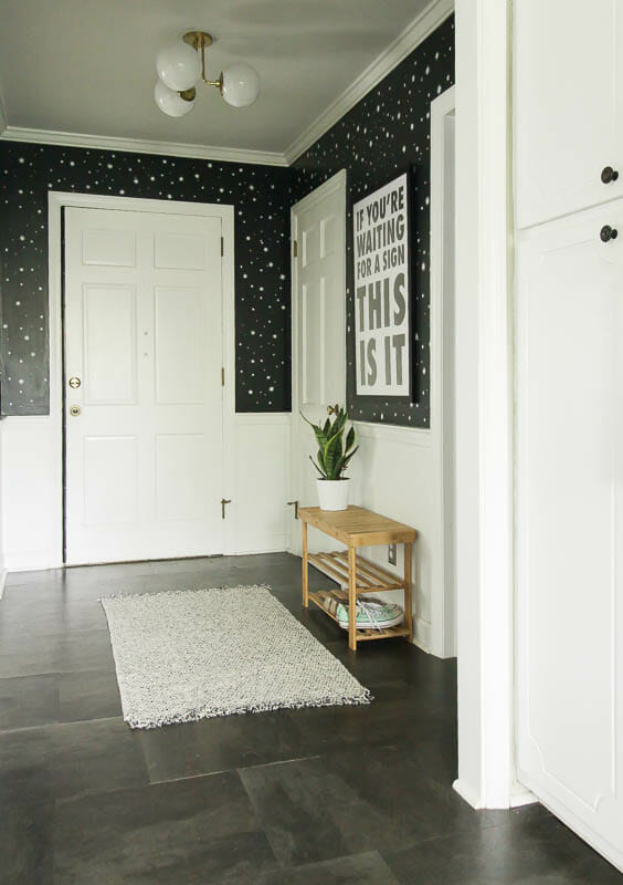 Small Space Entry in Black and white and gold neutral