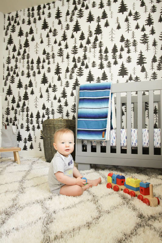 Gender Neutral White Nursery with wallpaper