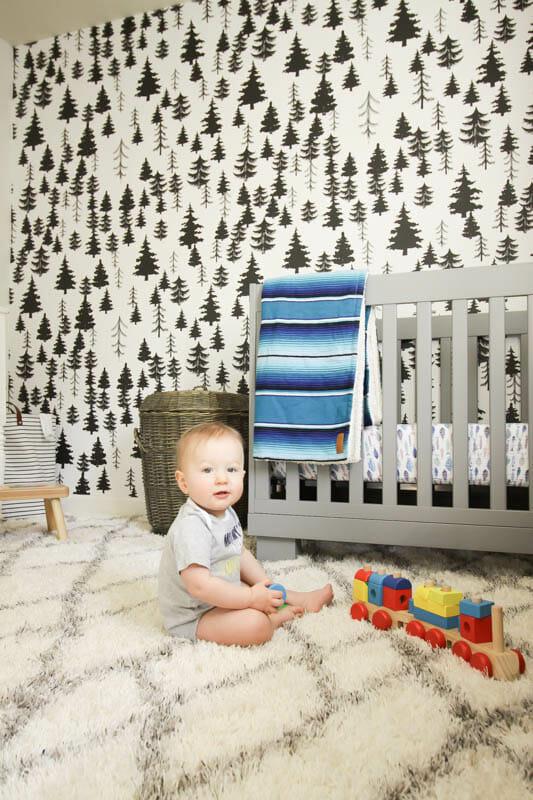 Gender Neutral White Nursery with wallpaper