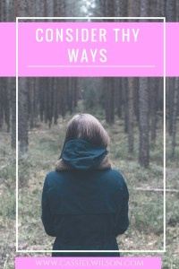 Consider thy ways - Cassie L. Wilson- learning to be the light