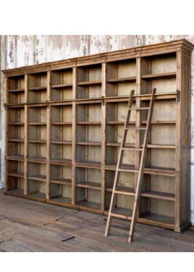Farmhouse Antique Wall Shelf Unit With Ladder