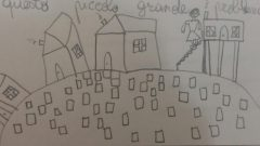 I sampietrini dissestati nel disegno di una bambina