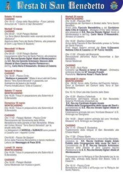 Calendario Festa di San Benedetto