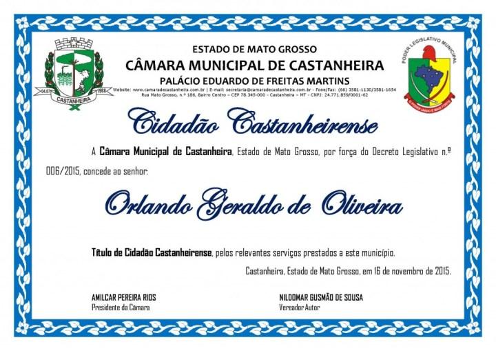 Título de Cidadão - ORLANDO GERALDO DE OLIVEIRA