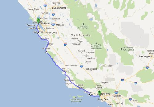 itineraire San Francisco - Los Angeles