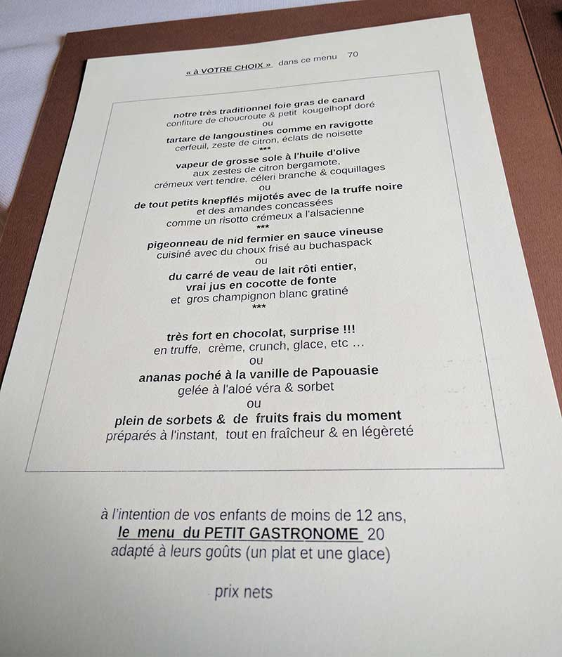 auberge st-laurent à Sierenz - menu à votre choix