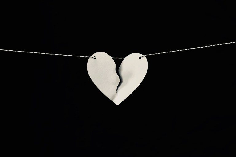 heart that is broken on string