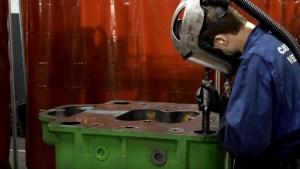 welding marine engine with safety equipment
