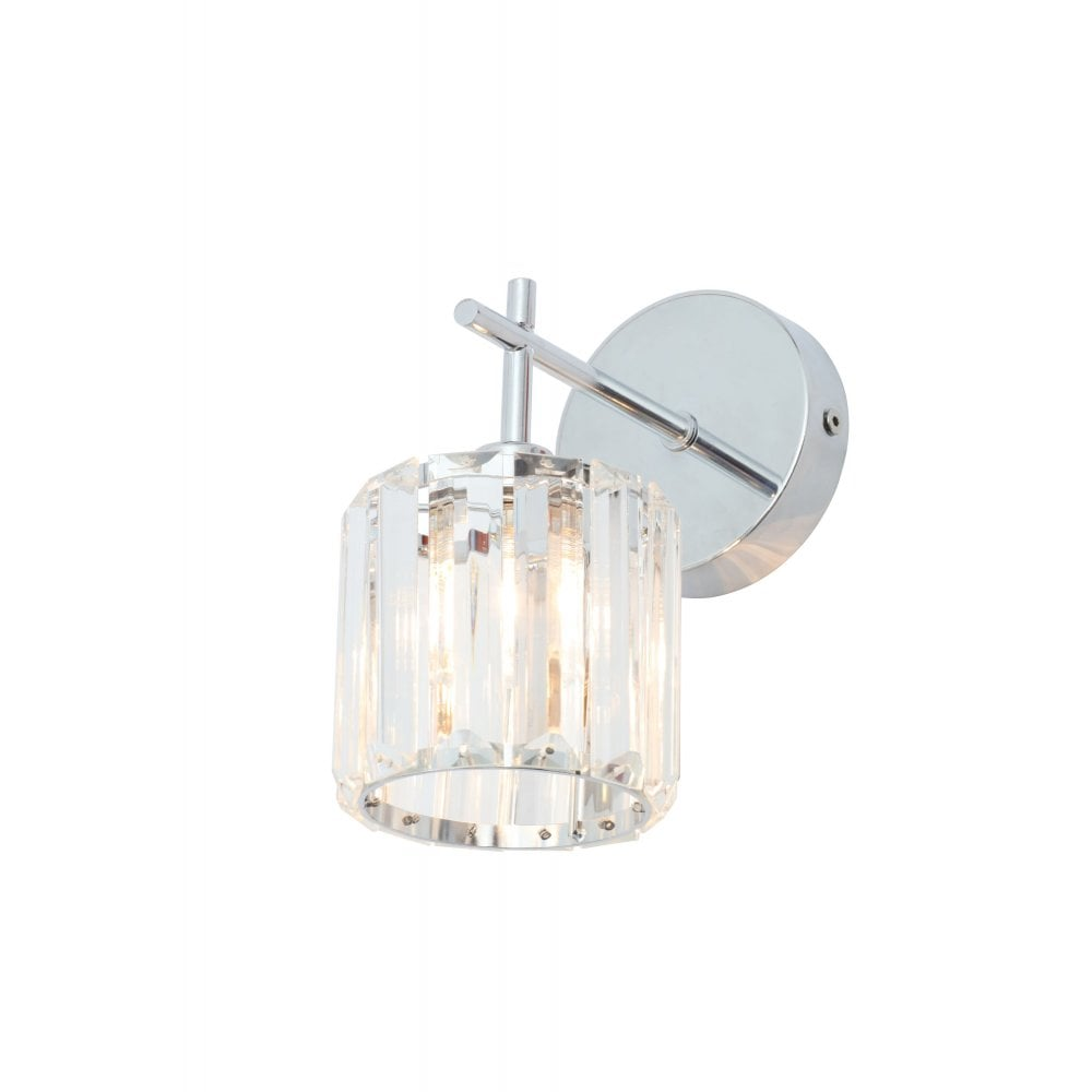 forum lighting spa 33932 chr pegasi single light bathroom wall fitting in chrome and crystal finish