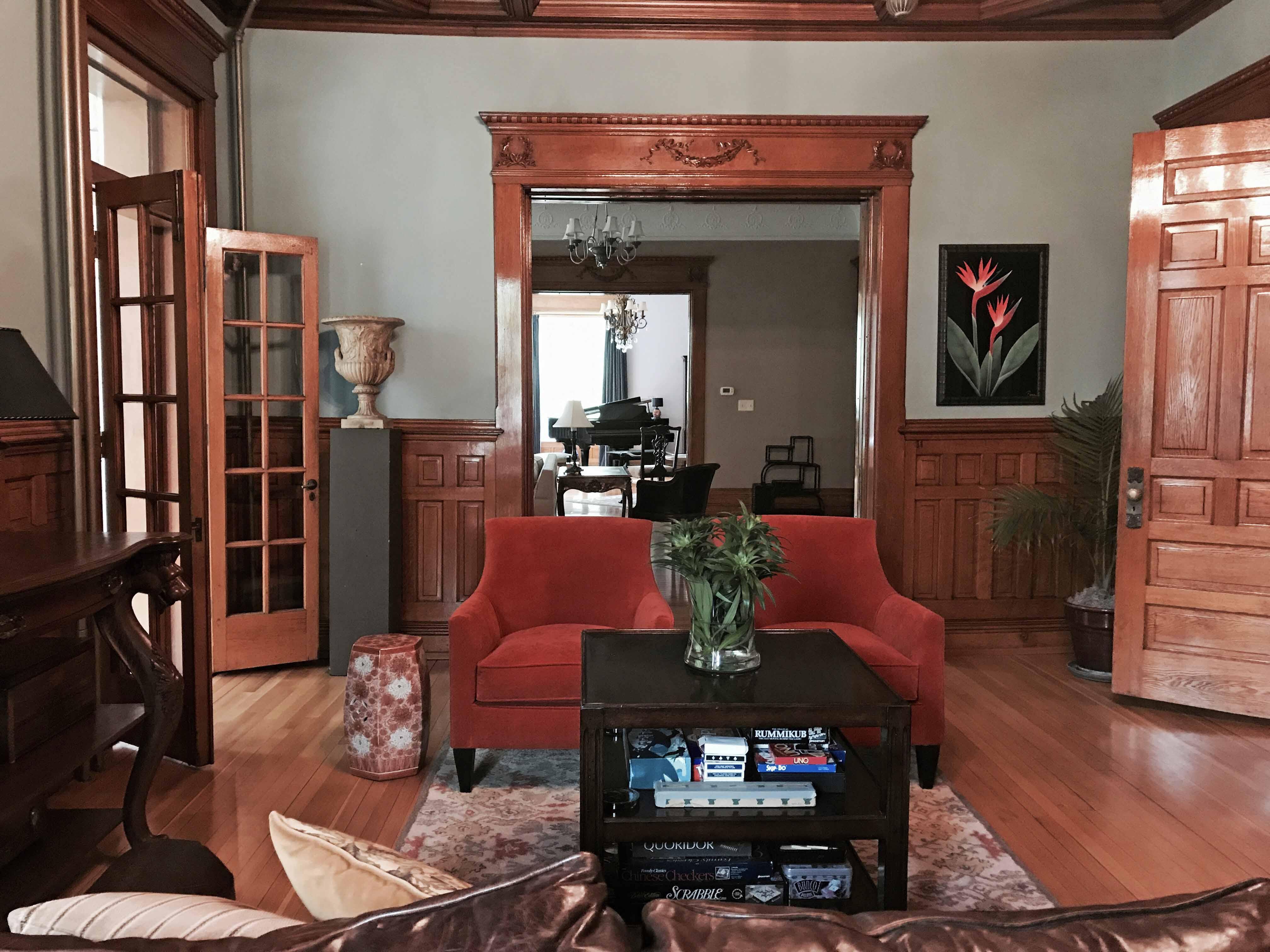 Enjoy the Sitting Room of the Library of Castle La Crosse B&B