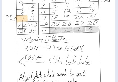 ExerPlan UI sketch in Notability for iPad.