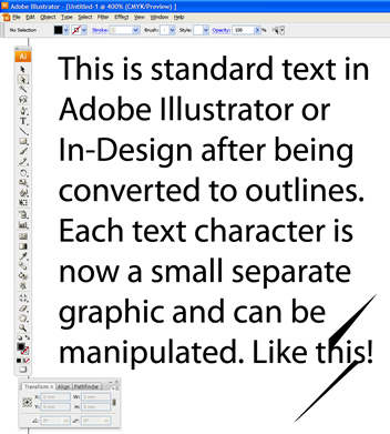 Converting text to outlines - example 4