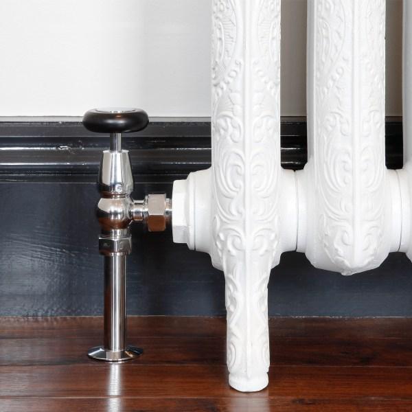Windsor Chrome Manual radiator valves with matching shrouds