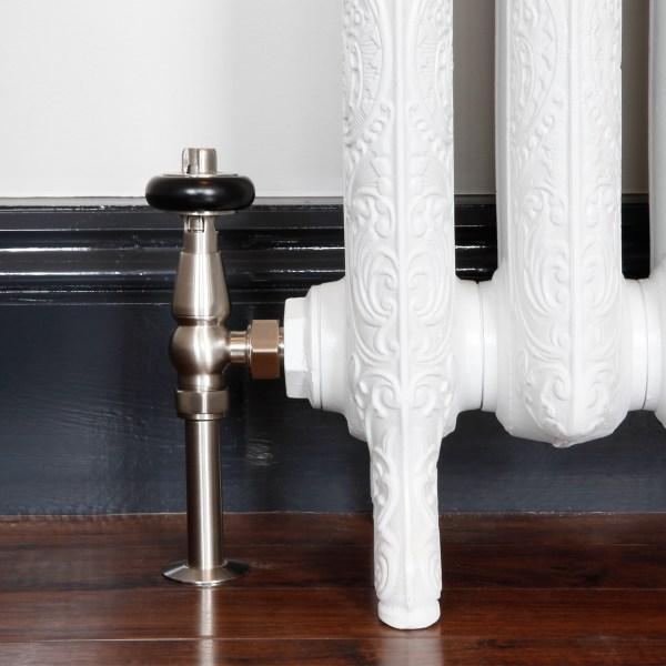 Windsor Satin Nickel thermostatic radiator valves with shrouds
